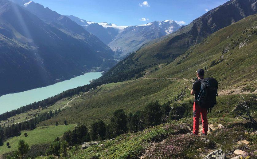Aachener Höhenweg – Talblick vom Kreuzjöchl auf den Gepatschstausee